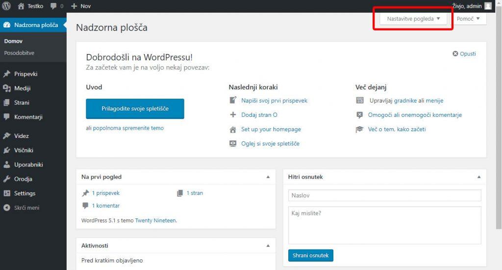 Izdelava spletne WordPress spletne strani - Nadzorna plošča