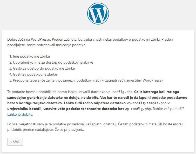 Izdelava spletne strani WordPress - dodatne infomracije o namestitvi