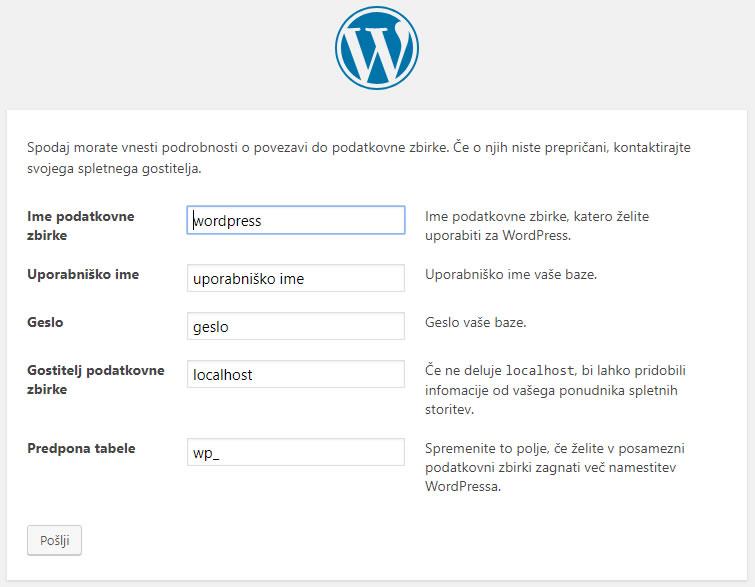 Izdelava WordPress spletne strani - podatki o podatkovni bazi